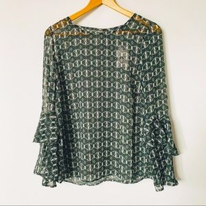 NWT Green Sheer Bell Sleeve Blouse 🌲